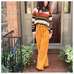 Mustard side pockets belted wide leg pants